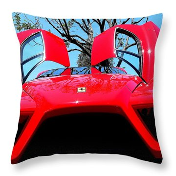 Throw Pillow featuring the photograph Red Ferrari Doors Open And Front Air Intakes by Jeff Lowe