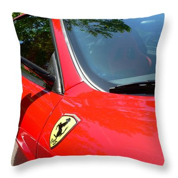 Throw Pillow featuring the photograph Red Ferrari Right Side by Jeff Lowe