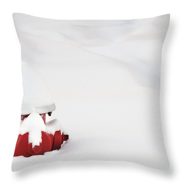 Red Fired Hydrant Buried In The Snow. Throw Pillow by Oscar Gutierrez