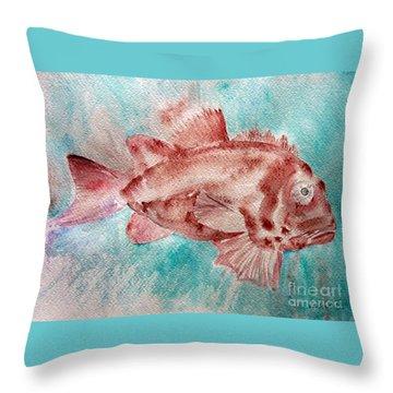 Red Fish Throw Pillow by Jasna Dragun