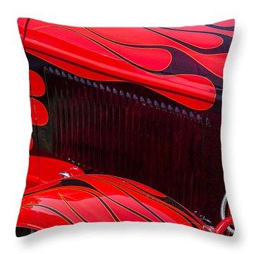 Red Flames Hot Rod Throw Pillow by Garry Gay