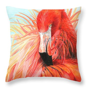Red Flamingo Throw Pillow