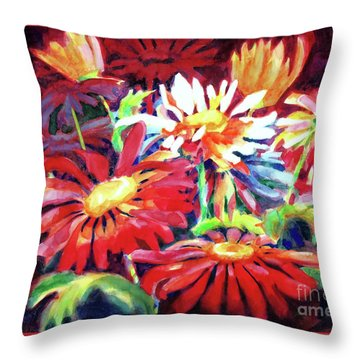 Red Floral Mishmash Throw Pillow