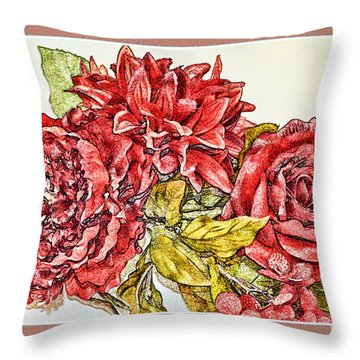 Red Floral Photoart Throw Pillow by Debbie Portwood