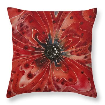Red Flower 1 - Vibrant Red Floral Art Throw Pillow by Sharon Cummings