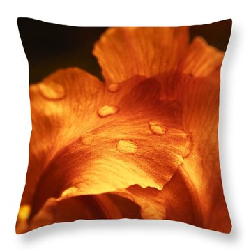 Red Flower Closeup Throw Pillow