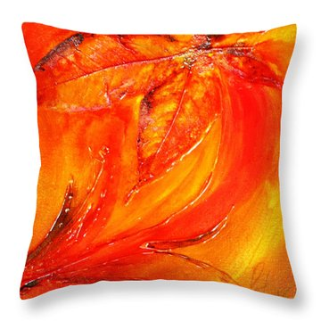 Red Flower Throw Pillow by Pat Purdy