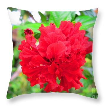 Red Flower Throw Pillow by Sergey Lukashin