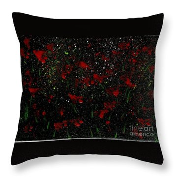 Throw Pillow featuring the painting Red Flowers In Twilight  by Becky Lupe