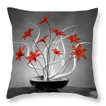 Red Flowers Throw Pillow by Louis Ferreira