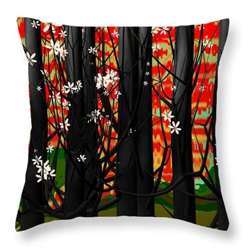 Red Forest Throw Pillow by GuoJun Pan