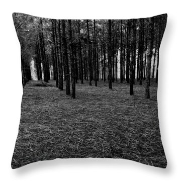 Red Forest In Black And White Throw Pillow