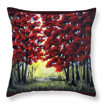 Red Forest Throw Pillow by Suzanne Theis