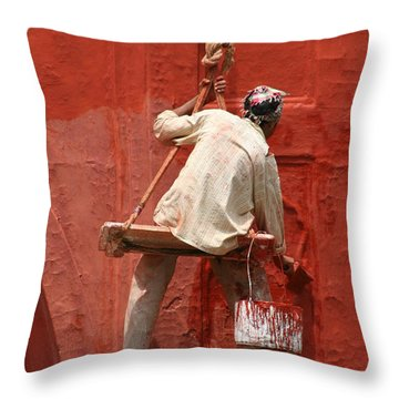 Red Fort Painter Throw Pillow by Nola Lee Kelsey