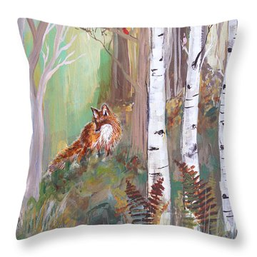 Red Fox And Cardinals Throw Pillow