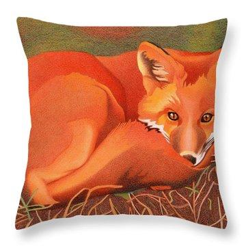 Red Fox Throw Pillow by Dan Miller