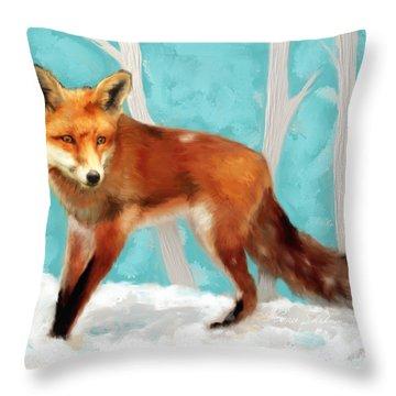 Red Fox Throw Pillow by Enzie Shahmiri