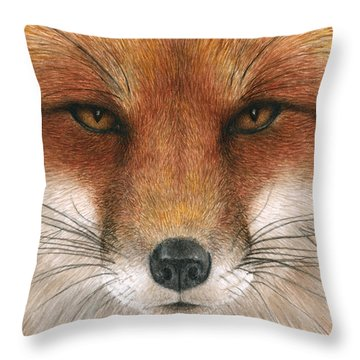 Red Fox Gaze Throw Pillow