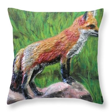 Red Fox Throw Pillow by Lorrie T Dunks