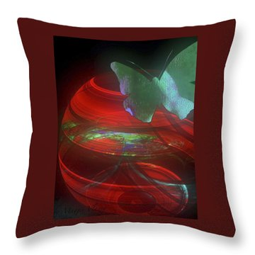 Red Fractal Bowl With Butterfly Throw Pillow
