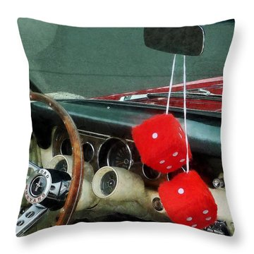 Red Fuzzy Dice In Converible Throw Pillow by Susan Savad