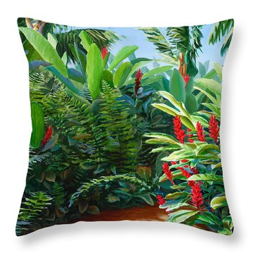 Tropical Jungle Landscape - Red Garden Hawaiian Torch Ginger Wall Art Throw Pillow