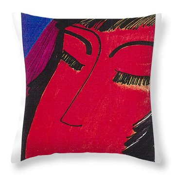 Throw Pillow featuring the drawing Red Geisha by Don Koester