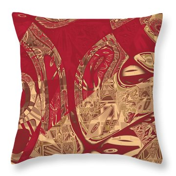 Red Geranium Abstract Throw Pillow