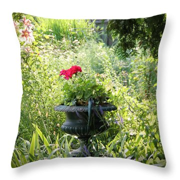 Red Geranium Throw Pillow by John Stuart Webbstock