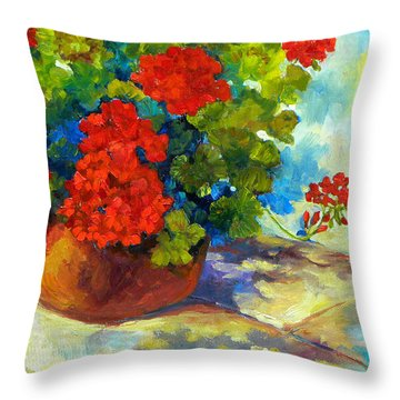 Red Geraniums I Throw Pillow by Peggy Wilson