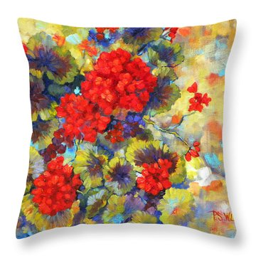 Red Geraniums II Throw Pillow by Peggy Wilson