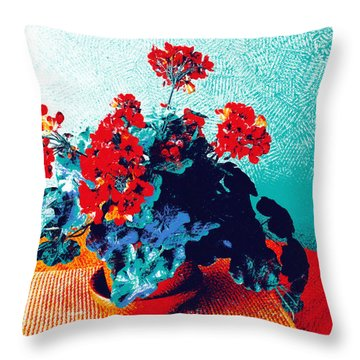 Red Geraniums Still Life Throw Pillow