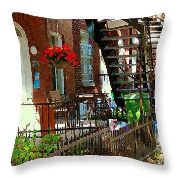 Red Geraniums Verdun Winding Staircases Hanging Flower Basket Montreal Porch Scene Carole Spandau Throw Pillow by Carole Spandau