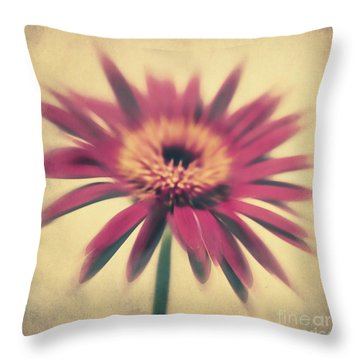 Red Gerbera Throw Pillow by Angela Doelling AD DESIGN Photo and PhotoArt