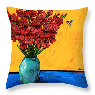 Red Glads With Hummingbird Throw Pillow by Dale Moses