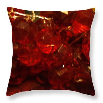 Red Glass Grapes Throw Pillow