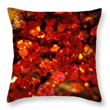 Red Glitter Pomagranite Throw Pillow