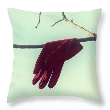Red Glove Throw Pillow by Joana Kruse
