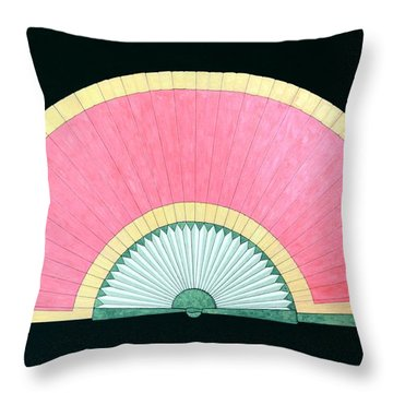 Red Gold Fan Throw Pillow