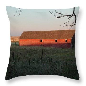 Red Granary Barn Throw Pillow