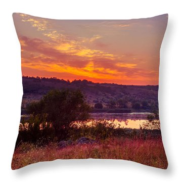 Red Grass Throw Pillow