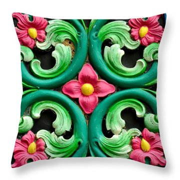 Red Green And Blue Floral Design Singapore Throw Pillow