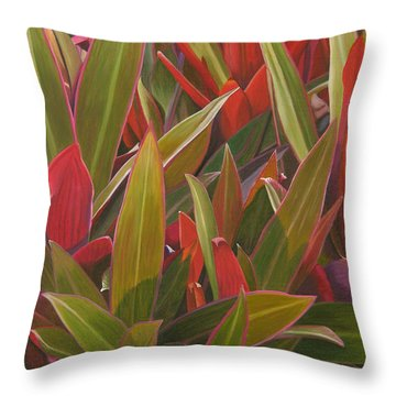 Red Green And Purple Throw Pillow by Thu Nguyen