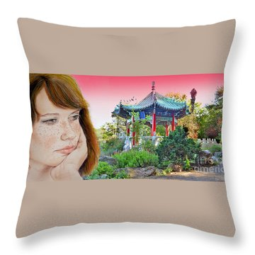 Red Hair And Freckled IIi Altered Version  Throw Pillow