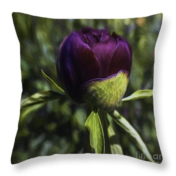 Red Haired Lady Throw Pillow by Jean OKeeffe Macro Abundance Art
