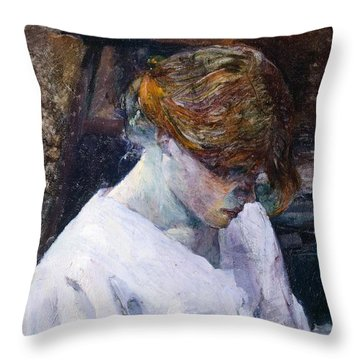 Red-haired Woman In White Camisole Throw Pillow by Henri de Toulouse Lautrec