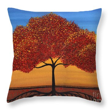 Red Happy Tree Throw Pillow