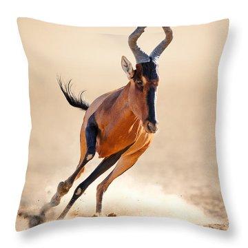 Red Hartebeest Running Throw Pillow