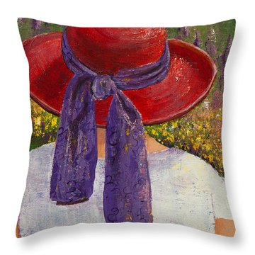 Red Hat Garden Throw Pillow by Margaret Bobb