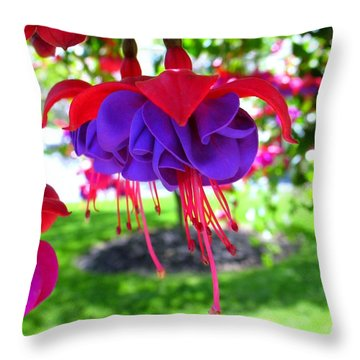 Red Hats Throw Pillow by Patti Whitten